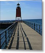 Light House In Charlevoix Mich Metal Print