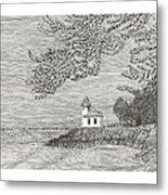 Light House On San Juan Island Lime Point Lighthouse Metal Print
