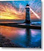 Light House Sunset Metal Print