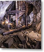 Light Painting In A Gold Mine 2 Metal Print