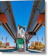 Light Rail Train Station In   Charlotte Nc Metal Print