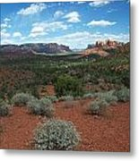 Light Shines On Cathedral Rock Metal Print