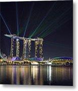 Light Show At Marina Bay Sands Hotel And Casino II Metal Print