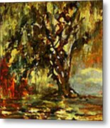 Light Through The Moss Tree Landscape Painting Metal Print