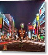Light Trails In Susukino Metal Print