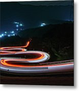 Light Trails Of Cars On The Zigzag Way Metal Print