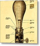 Lightbulb Patent Metal Print