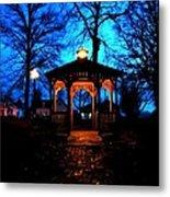 Lighted Gazebo Sunset Park Metal Print
