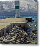 Lighthead At The End Of The Pier In Pentwater Michigan Metal Print