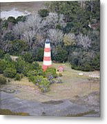 Lighthouse Aerial Near Jekyll Island Metal Print