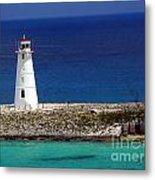 Lighthouse Along Coast Of Paradise Island Bahamas Metal Print