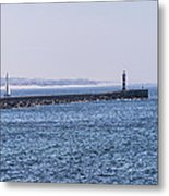 Lighthouse And A Sailing Boat Metal Print