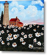 Lighthouse And Daisies Metal Print