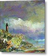 Lighthouse And Fisherman Metal Print