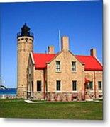 Lighthouse And Mackinac Bridge Metal Print