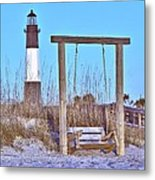 Lighthouse And Swing Metal Print
