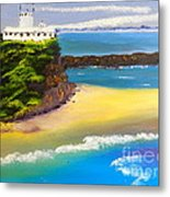Lighthouse At Nobbys Beach Newcastle Australia Metal Print