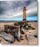 Lighthouse At Talacre  Metal Print by Adrian Evans