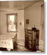Lighthouse Bedroom In Sepia Metal Print