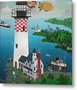 Lighthouse Fishing Metal Print