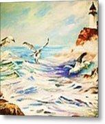 Lighthouse Gulls And Waves Metal Print