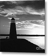 Lighthouse In Black And White Metal Print