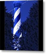 Lighthouse In Blue Metal Print