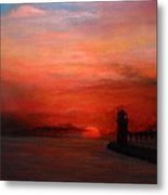 South Haven Mi Lighthouse In Four Seasons Summer Metal Print