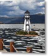 Lighthouse In Lake Dillon Metal Print