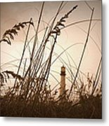 Lighthouse In The Distance Inn Sepia Metal Print by Laurie Perry