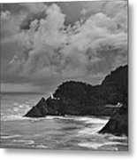 Lighthouse In The Storm Metal Print by Andrew Soundarajan
