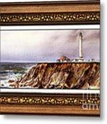 Lighthouse In Vintage Frame Metal Print