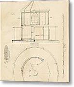 Lighthouse Lantern Drawing Metal Print