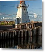 Lighthouse On A Channel By Cascumpec Bay On Prince Edward Island No. 095 Metal Print