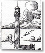 Lighthouse On A Cliff Bookmark Metal Print