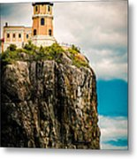Lighthouse On Split Rock Metal Print