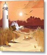 Lighthouse On The Coast Metal Print
