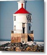 Lighthouse On The Rocks Metal Print