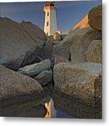 Lighthouse, Peggys Cove, Nova Scotia Metal Print