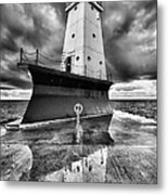 Lighthouse Reflection Black And White Metal Print