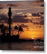 Lighthouse Sun Rays Metal Print