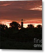 Lighthouse Sunset Metal Print