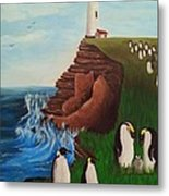 Lighthouse With Penguins Metal Print
