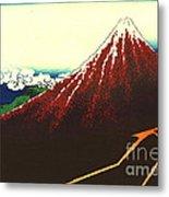 Lightning Below Red Fuji 1826 Metal Print