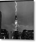 Lightning Hits Empire State Metal Print