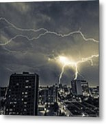 Lightning Over Downtown Yxe Metal Print by Gerald Murray Photography