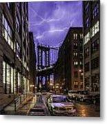 Lightning Over Manhattan Bridge Metal Print