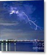Lightning Over Safety Harbor Pier Metal Print