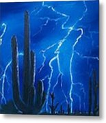 Lightning  Over The Sonoran Metal Print