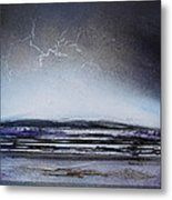 Lightning Storm Druridge Bay 1 Metal Print by Mike   Bell